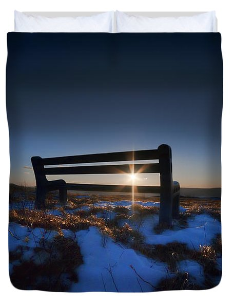 Bench On Top Of Mountain At Sunset Duvet Cover by Dan Friend