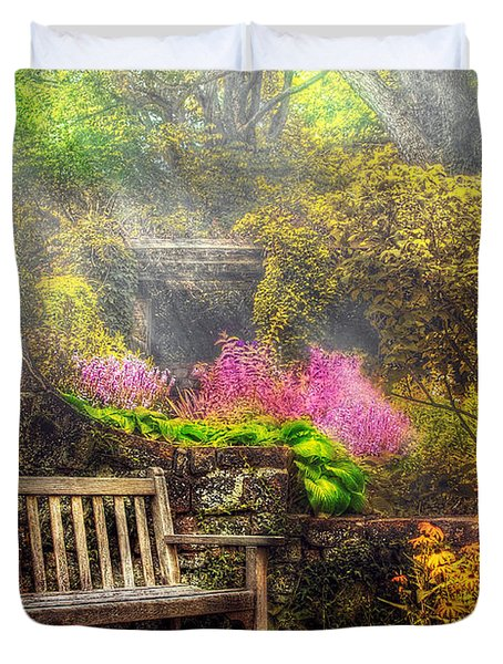 Bench - Tranquility II Duvet Cover by Mike Savad