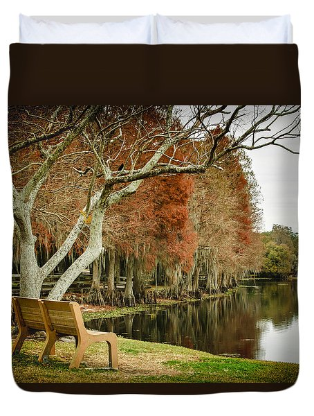 Bench With A View Duvet Cover by Carolyn Marshall