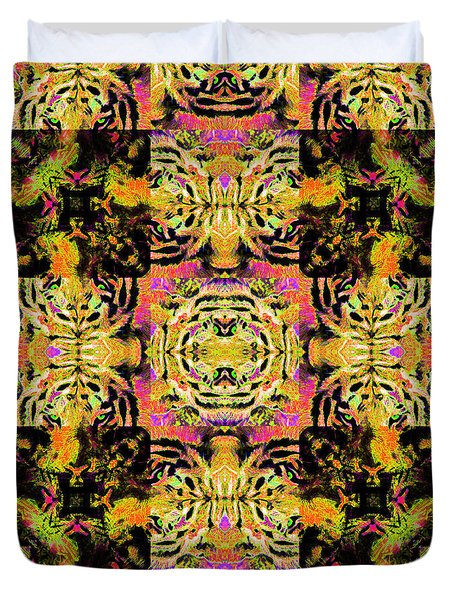 Bengal Tiger Abstract 20130205p80 Duvet Cover by Wingsdomain Art and Photography