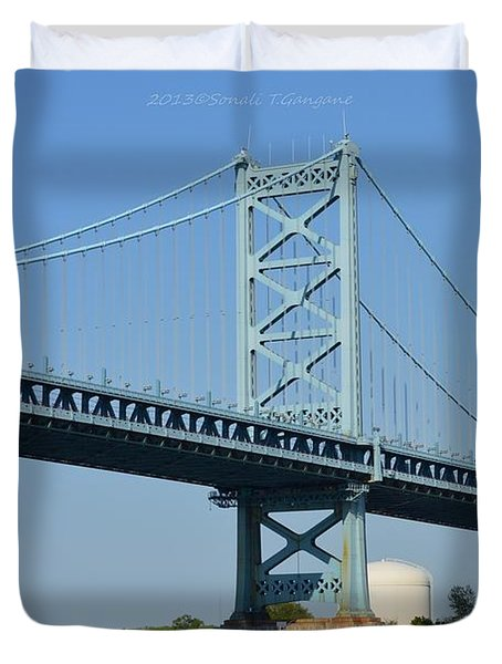 Benjamin Franklin Bridge Duvet Cover by Sonali Gangane