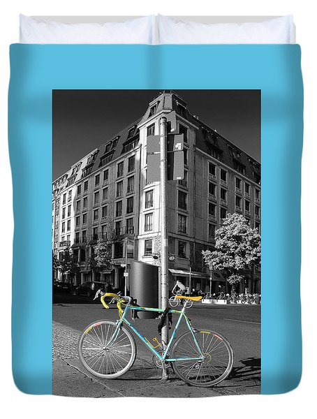 Berlin Street View With Bianchi Bike Duvet Cover by Ben and Raisa Gertsberg