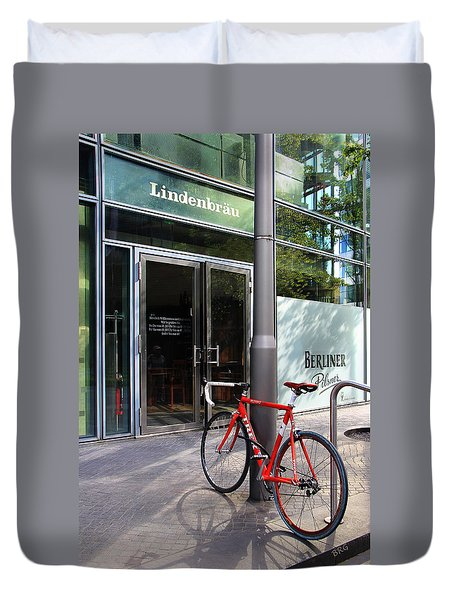 Berlin Street View With Red Bike Duvet Cover by Ben and Raisa Gertsberg
