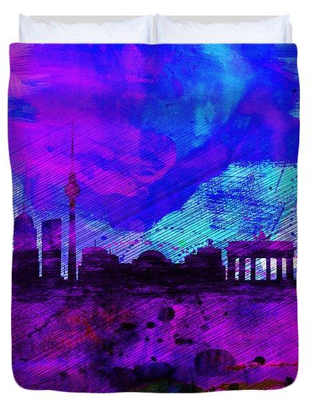 Berlin Watercolor Skyline Duvet Cover by Naxart Studio