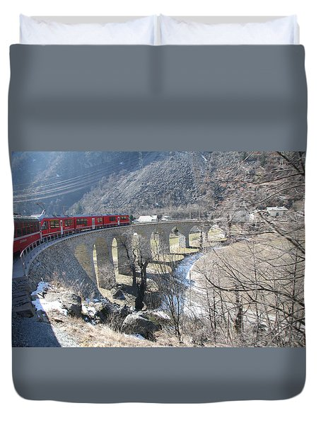 Duvet Cover featuring the photograph Bernina Express In Winter by Travel Pics