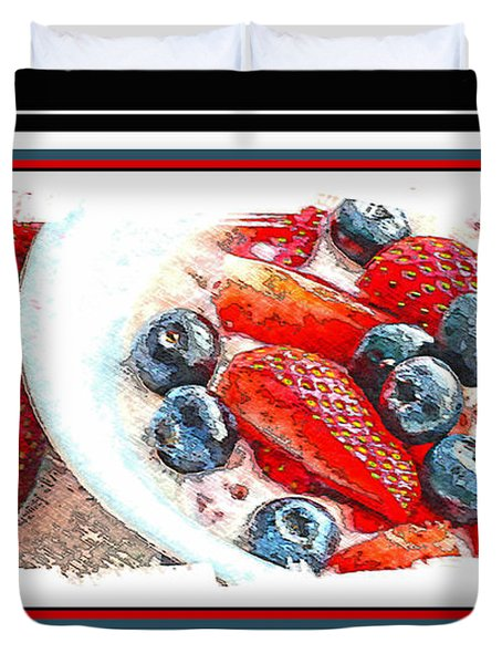 Berries and Yogurt Illustration - Food - Kitchen Duvet Cover by Barbara Griffin
