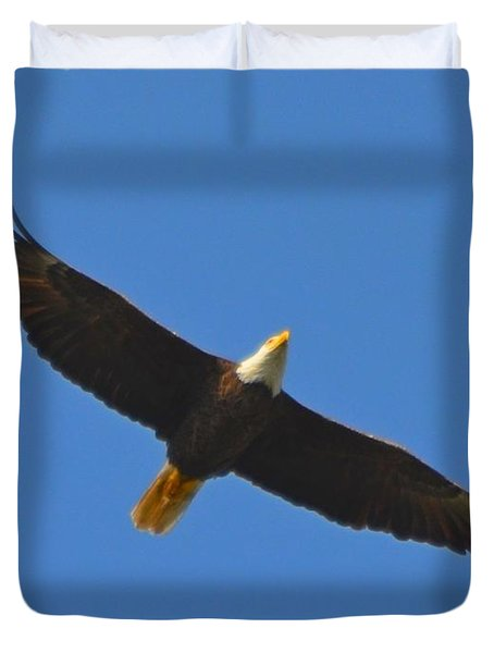 Best Soaring Bald Eagle Duvet Cover by Jeff at JSJ Photography