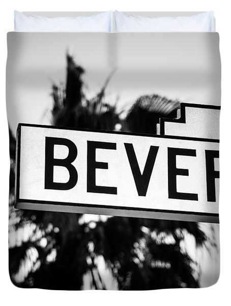 Beverly Boulevard Street Sign In Black An White Duvet Cover by Paul Velgos
