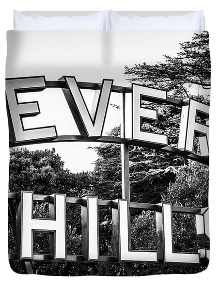 Beverly Hills Sign In Black And White Duvet Cover by Paul Velgos