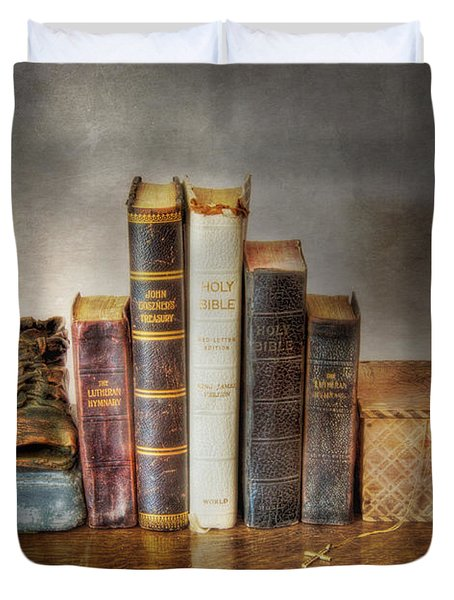 Bibles And Hymnbooks Duvet Cover by David and Carol Kelly
