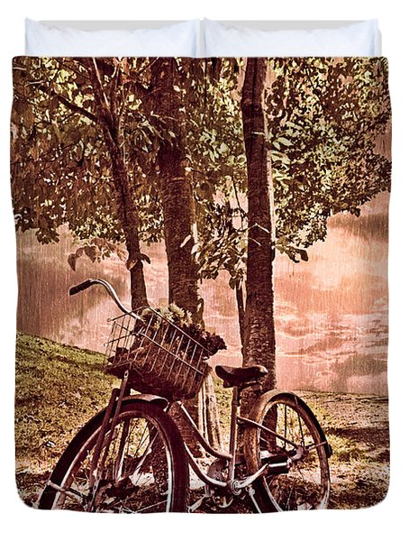 Bicycle In The Park Duvet Cover by Debra and Dave Vanderlaan