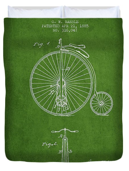 Bicycle Patent Drawing From 1885 - Green Duvet Cover by Aged Pixel