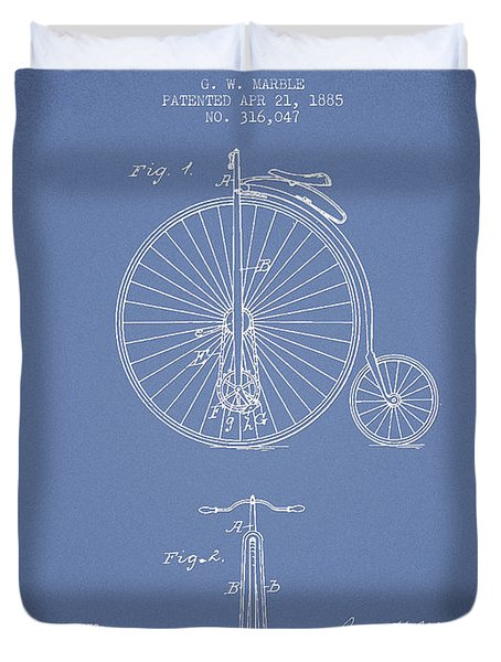 Bicycle Patent Drawing From 1885 - Light Blue Duvet Cover by Aged Pixel