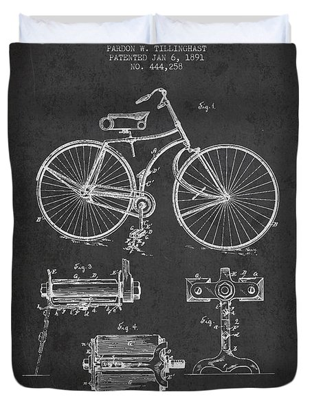 Bicycle Patent Drawing From 1891 Duvet Cover by Aged Pixel