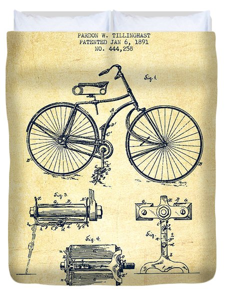 Bicycle Patent Drawing From 1891 - Vintage Duvet Cover by Aged Pixel