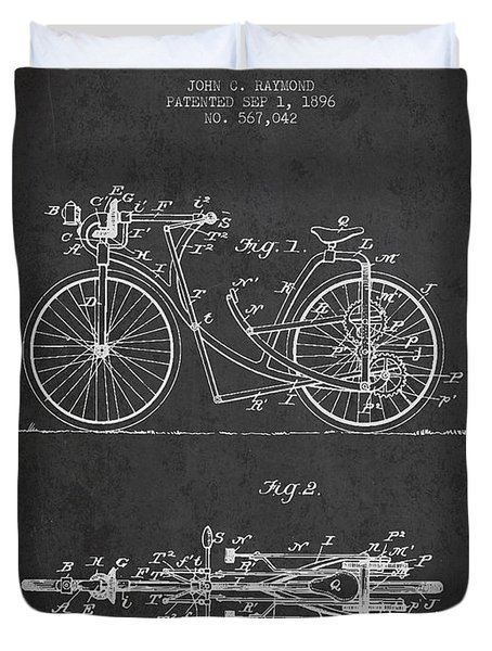 Bicycle Patent Drawing From 1896 - Dark Duvet Cover by Aged Pixel