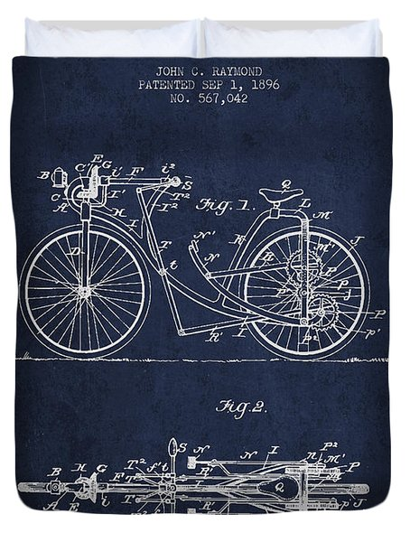 Bicycle Patent Drawing From 1896 - Navy Blue Duvet Cover by Aged Pixel