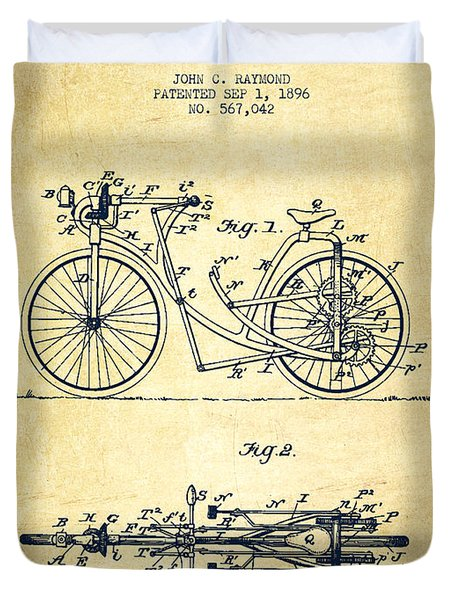Bicycle Patent Drawing From 1896 - Vintage Duvet Cover by Aged Pixel