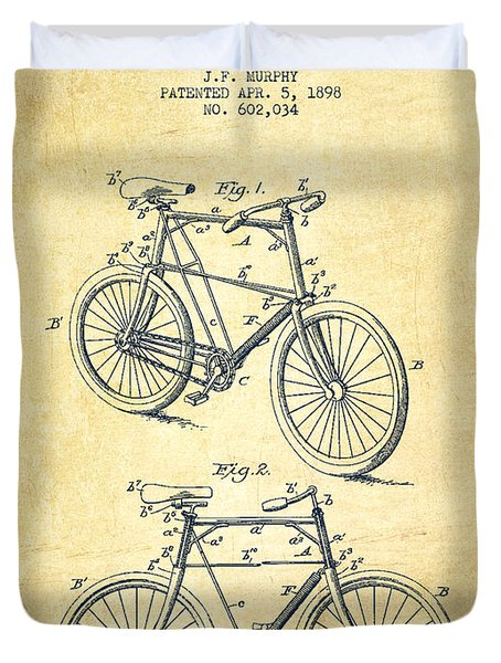 Bicycle Patent Drawing From 1898 - Vintage Duvet Cover by Aged Pixel