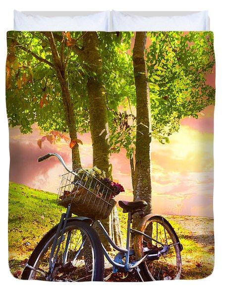 Bicycle Under The Tree Duvet Cover by Debra and Dave Vanderlaan