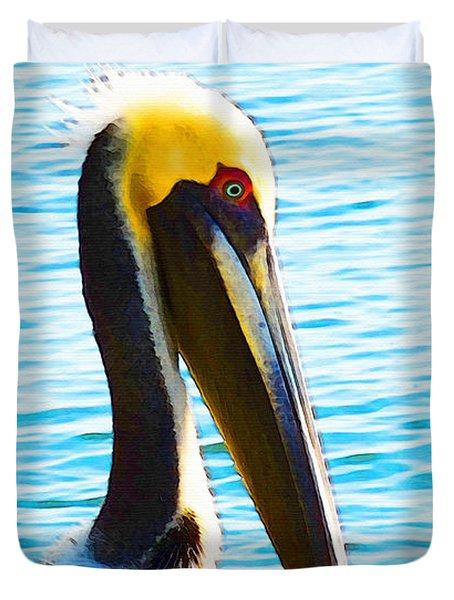 Big Bill - Pelican Art By Sharon Cummings Duvet Cover by Sharon Cummings