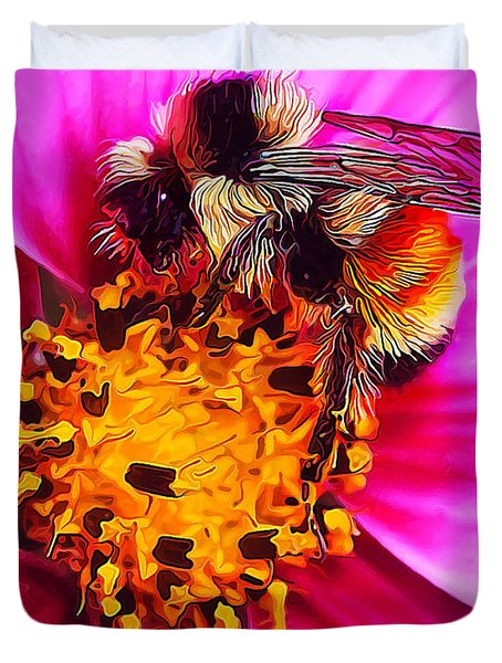 Big Bumble On Pink Duvet Cover by Bill Caldwell -        ABeautifulSky Photography