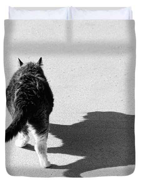 Big Cat Ferocious Shadow Monochrome Duvet Cover by James BO  Insogna