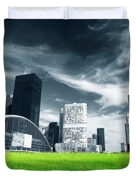Big City And Green Fresh Meadow Duvet Cover by Michal Bednarek