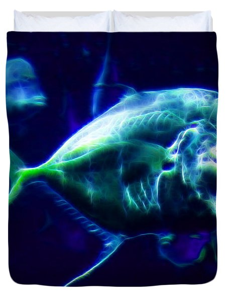 Big Fish Small Fish - Electric Duvet Cover by Wingsdomain Art and Photography