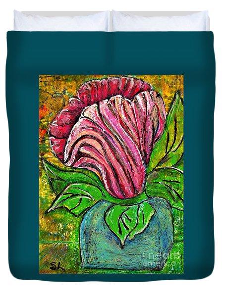 Big Pink Flower Duvet Cover by Sarah Loft