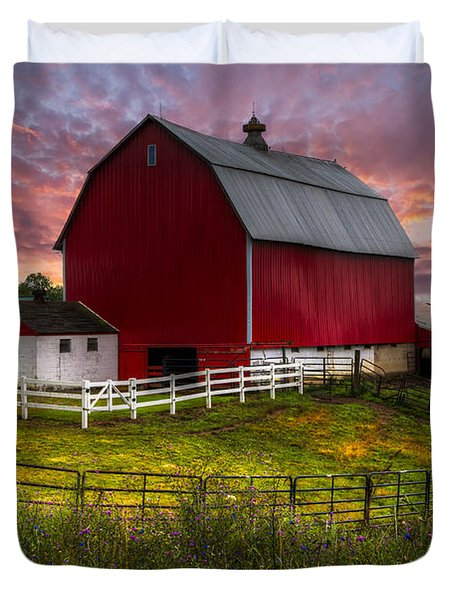 Big Red At Sunset Duvet Cover by Debra and Dave Vanderlaan