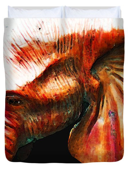 Big Red - Elephant Art Painting Duvet Cover by Sharon Cummings