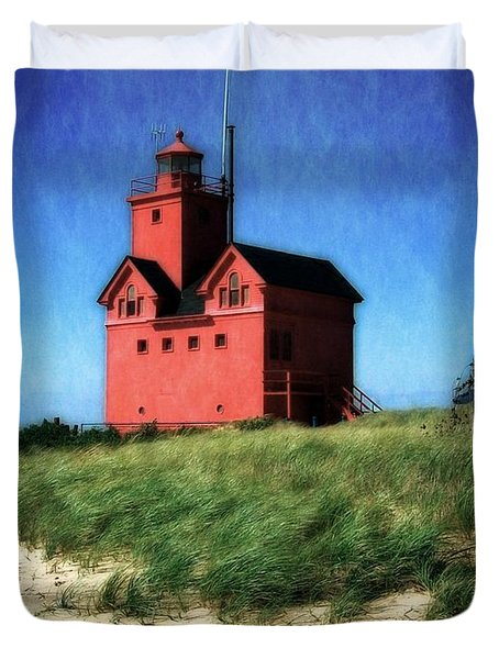Big Red with Flag Duvet Cover by Michelle Calkins