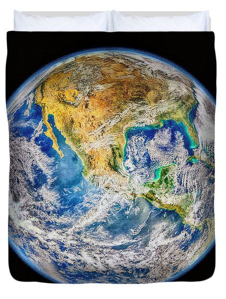 Biggest Image Of Earth Ever N. A. S. A Duvet Cover by Bob and Nadine Johnston