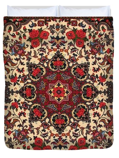 Bijar Red And Cream Silk Carpet Persian Art Poster Duvet Cover by Persian Art