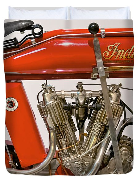 Bike - Motorcycle - Indian Motorcycle engine Duvet Cover by Mike Savad