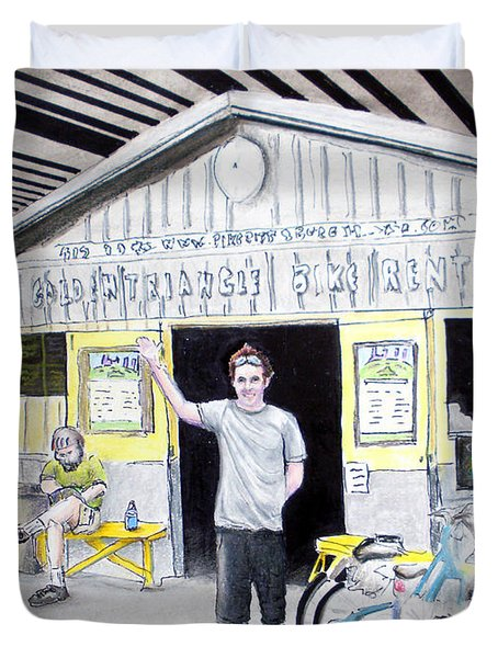 Bike Pittsburgh Duvet Cover by Albert Puskaric