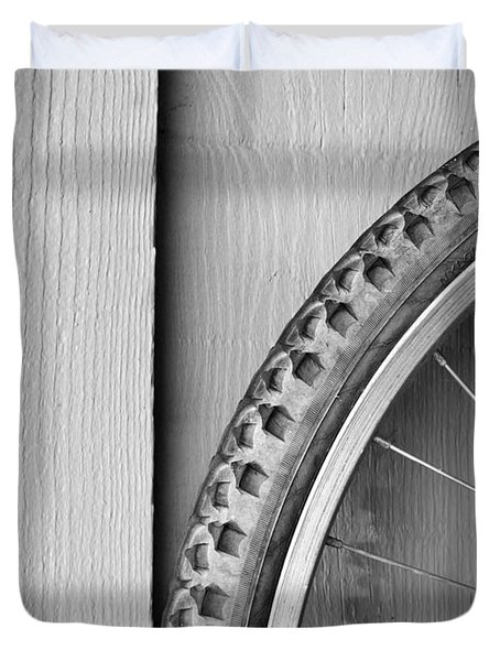 Bike Wheel Black and White Duvet Cover by Tim Hester