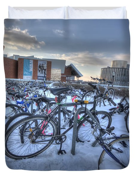 Bikes At University Of Minnesota  Duvet Cover by Amanda Stadther