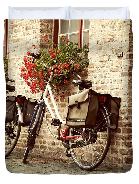 Bikes In The School Yard Duvet Cover by Juli Scalzi