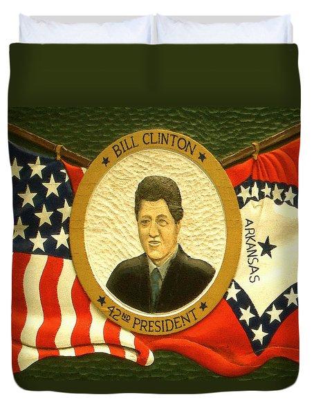Bill Clinton 42nd American President Duvet Cover by Art America Online Gallery