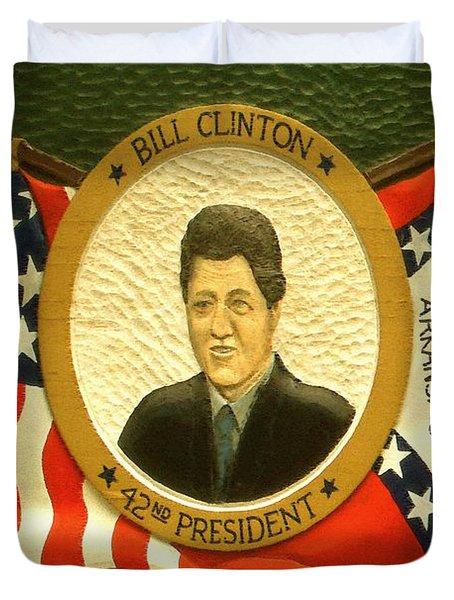 Bill Clinton 42nd American President Duvet Cover by Peter Fine Art Gallery  - Paintings Photos Digital Art