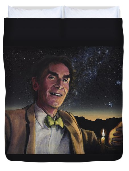 Bill Nye - A Candle In The Dark Duvet Cover by Simon Kregar