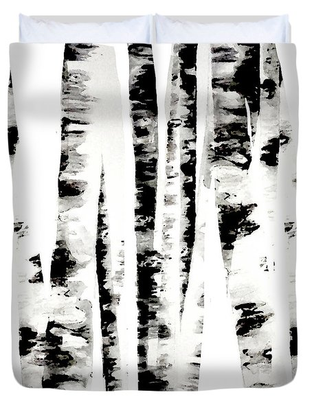 Birch Trees Duvet Cover by Budi Kwan