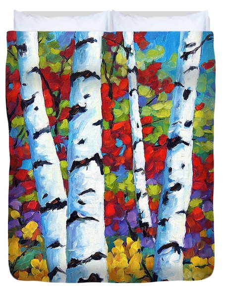 Birches In Abstract By Prankearts Duvet Cover by Richard T Pranke