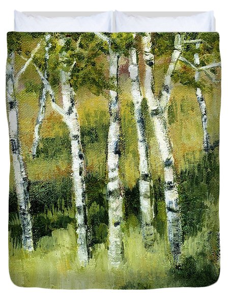 Birches on a Hill Duvet Cover by Michelle Calkins