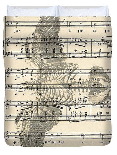 Bird Music Duvet Cover by Nomad Art And  Design