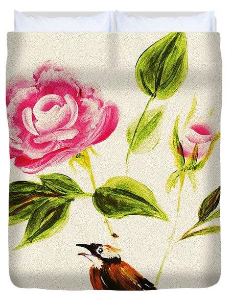 Bird On A Flower Duvet Cover by Anastasiya Malakhova