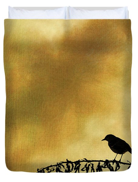 Bird On Branch Montage Duvet Cover by David Gordon