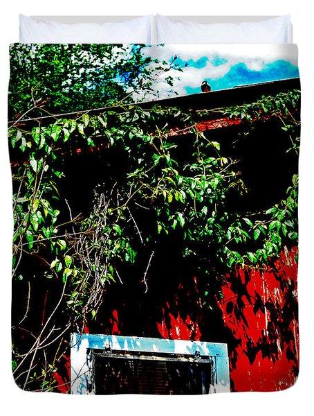 Bird On Roof Duvet Cover by Maggy Marsh
